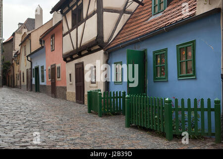 Medieval houses in Golden Line in Prague Castle in Prague, Czech Republic. Franz Kafka lived in the house number - Stock Photo