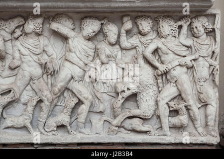 Meleager slaying the Calydonian Boar. Roman marble sarcophagus daring from the 3rd century AD on display in the - Stock Photo