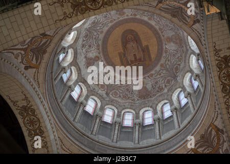 Mural paintings by French painter Pierre Fritel in the dome of the Basilica of Saint Martin (Basilique Saint-Martin - Stock Photo