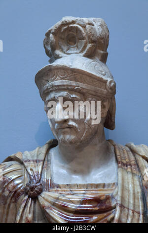 Greek general and statesman Pyrrhus of Epirus (319/318 - 272 BC). Roman marble copy from the 2nd century AD after - Stock Photo