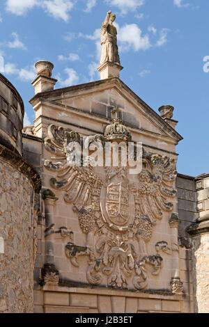 relief above the entrance portal of Poble Espanyol in Palma de Mallorca, Spain