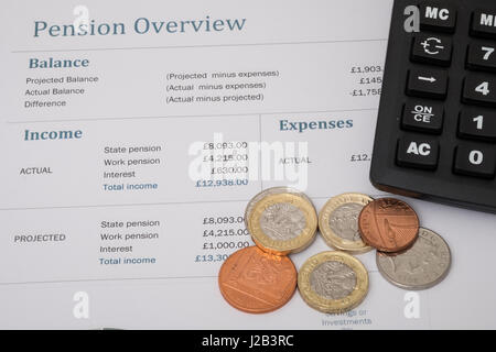 State pension summary with UK coins and calculator - Stock Photo