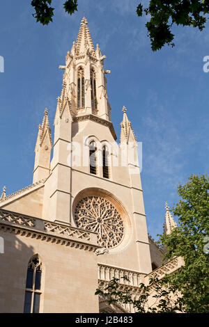 church spire of Santa Eulalia in Palma de Mallorca, Spain - Stock Photo