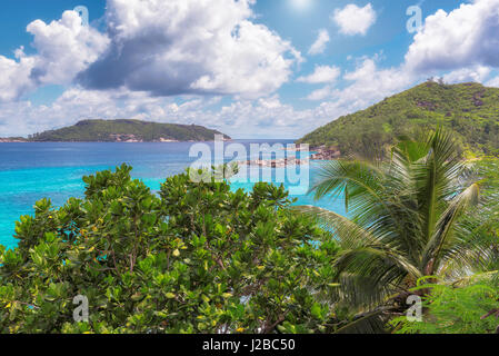 View over the amazing Mahe island, Seychelles. - Stock Photo