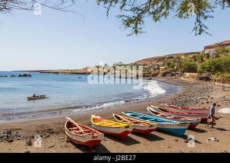 Fishing boats on beach, Cidade Velha, Santiago Island, Cape Verde - Stock Photo