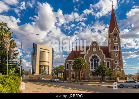 Luteran Christ Church and road with cars in front, Windhoek, Namibia - Stock Photo