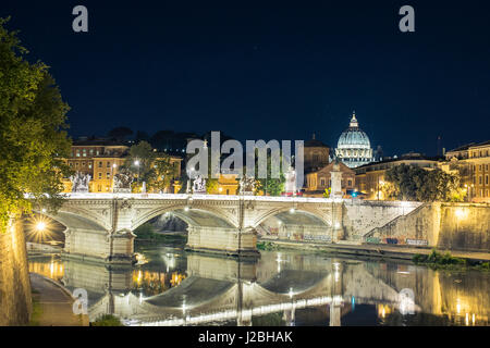 Vatican City, Rome, Italy, Beautiful Vibrant Night image Panorama of St. Peter's Basilica, Ponte St. Angelo and - Stock Photo