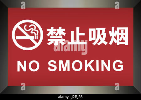 Chinese No Smoking sign written in both Chinese and English - Stock Photo