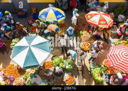 African vegetable market, Assomada, Santiago Island, Cape Verde - Stock Photo