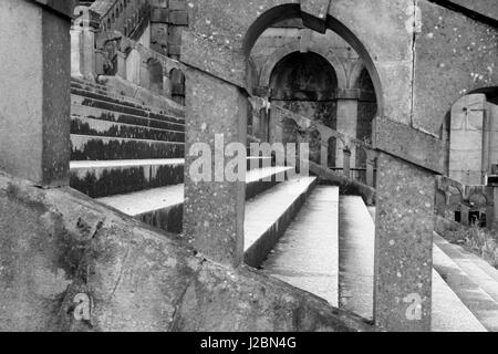 Steps in the ruins of the old Crystal Palace in Crystal Palace Park, Crystal Palace, London, UK - Stock Photo