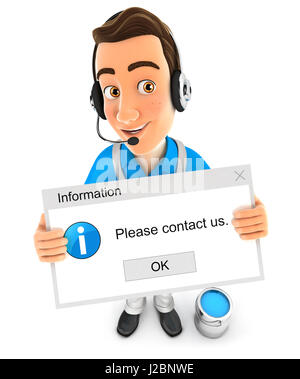 3d painter holding contact message, illustration with isolated white background - Stock Photo