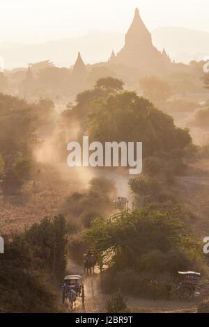 View of the pagodas and temples of the ancient ruined city of Bagan (Pagan), at sunset, Myanmar, (Burma) - Stock Photo