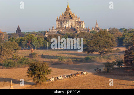View of the pagodas and temples of the ancient ruined city of Bagan (Pagan), Myanmar, (Burma) - Stock Photo