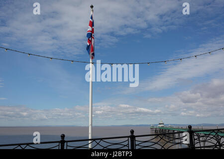 A sad looking Union jack flag hanging from a flagpole at the seaside, on 22nd April 2017, in Clevedon, North Somerset, - Stock Photo