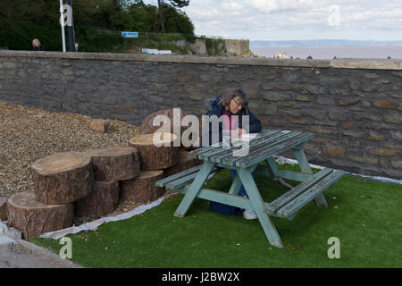 A lady reads on a bench at Clevedon on 22nd April 2017, in North Somerset, England. - Stock Photo