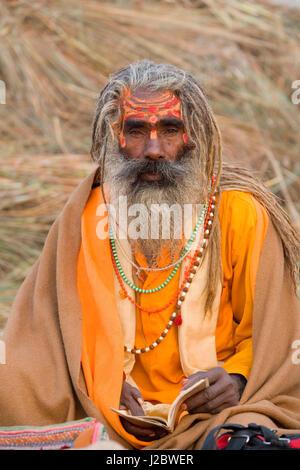 Sadhus at Kumbh Mela festival, India - Stock Photo