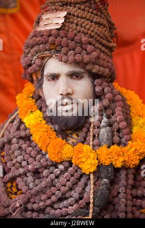 India, Allahabad, Kumbh Mela religious festival, traditional costume - Stock Photo