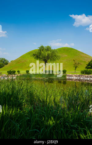 Tumuli Park with its tombs from the Shilla monarchs in the Unesco World Heritage Site Gyeongju, South Korea - Stock Photo