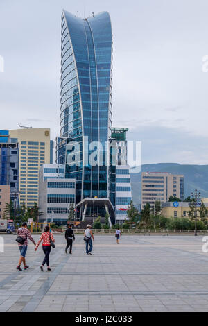 Asia, Mongolia, Ulaanbaatar. Sukhbaatar Square, (Chinggis Square). Blue Sky Tower. (Editorial Use Only) - Stock Photo