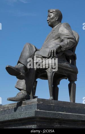 Asia, Mongolia, Ulaanbaatar. Statue of Yumjaagiin Tsedenbal. (Editorial Use Only) - Stock Photo