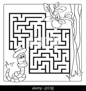 Labyrinth, maze for kids. Entry and exit. Children puzzle game - coloring book - Stock Photo