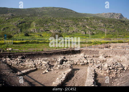 Ancient archeological finds from Biblical times at Magdala Archaeological Park on the bank of the Sea of Galilee, - Stock Photo