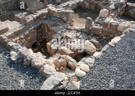 Ancient archeological finds from Biblical times at Magdala Archeological Park on the bank of the Sea of Galilee, - Stock Photo