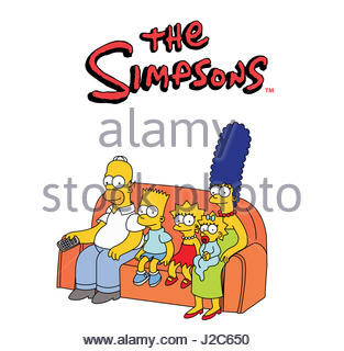 the simpsons family sofa - Stock Photo