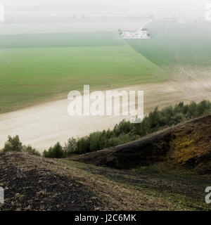Waste hills of coal mines make a unique landscape in Belgium and north France - Stock Photo