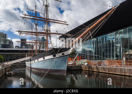 Australia, Victoria, Melbourne, South Wharf, Polly Woodside Maritime Museum ship - Stock Photo