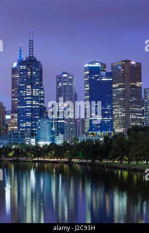 Australia, Victoria, Melbourne, skyline along Yarra River, dawn - Stock Photo
