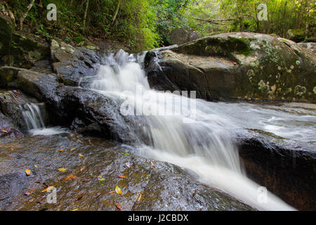 Small waterfall in between the autumn leaves, that fills the Peri lake in Florianopolis, Brazil. - Stock Photo