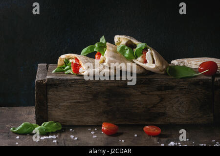 Pita bread sandwiches with vegetables - Stock Photo