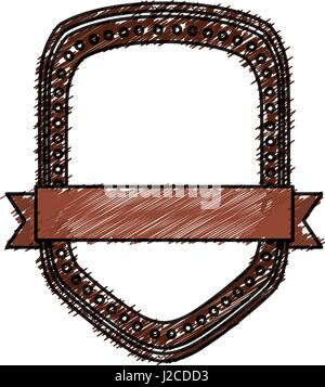 color pencil heraldic shield with dots and decorative ribbon - Stock Photo