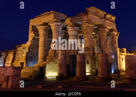 Egypt, Aswan Gouvernement, Kom Ombo, The Temple of Kom Ombo is dedicated to the gods Horus (Falke) and Sobek (Crocodile) - Stock Photo
