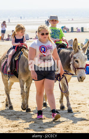 Donkey ride for two small children on the beach at Dymchurch on a sunny afternoon. - Stock Photo