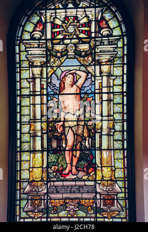Stained Glass Window at St Anns Church in Manchester, United Kingdom