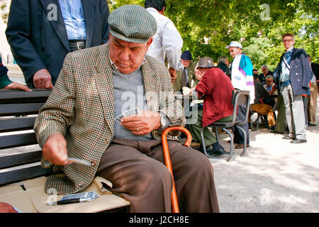 Portugal, Lisbon, The card players of Alameda, At the Jardim da Alameda Dom Afonso Heriques, the men meet for card - Stock Photo