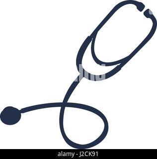 white background with dark blue symbol of stethoscope - Stock Photo