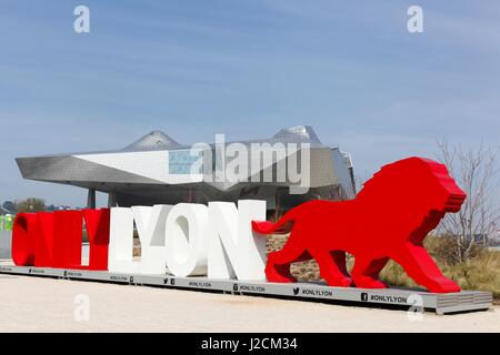 Lyon, France - March 15, 2017: The Musee des Confluences with only Lyon symbol in foreground - Stock Photo