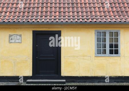 Odense, Denmark - April 2, 2017: House and birth place of the storyteller Hans Christian Andersen in Odense, Denmark - Stock Photo