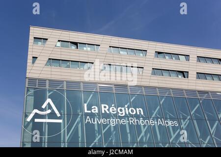 Lyon, France - March 15, 2017: Auvergne-Rhone-Alpes building in Lyon. Auvergne-Rhone-Alpes is a region of France - Stock Photo