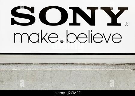 Villefranche, France - March 13, 2017: Sony logo on a wall. Sony is a Japanese multinational conglomerate corporation - Stock Photo