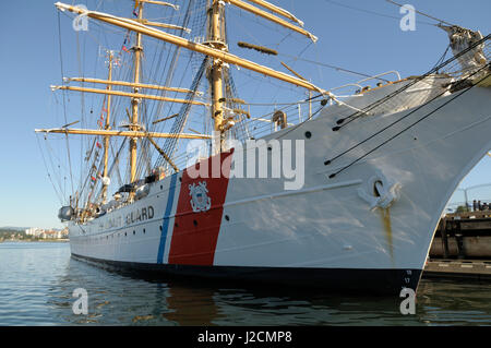 Canada, British Columbia, Victoria. The USCG Eagle is a three-masted sailing barque with 21,350 square feet of sail. - Stock Photo