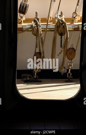 Canada, British Columbia, Victoria. Rigging lines and blocks on the USCG Eagle, a three-masted sailing barque. It's - Stock Photo
