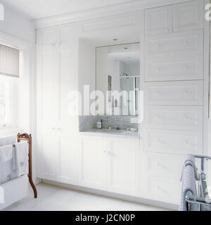Modern white bathroom. - Stock Photo
