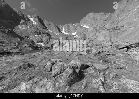 Morning view of Sky Pond, Rocky Mountain National Park, Colorado. - Stock Photo