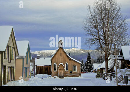 Barkerville Historic Town in winter. - Stock Photo