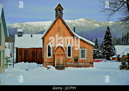 Barkerville Historic Town in winter. St. Savior's church in winter. - Stock Photo