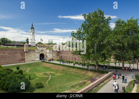 BELGRADE, SERBIA - MAY 25: Tourist visit Kalemegdan fortress and famous Sahat tower on May 25, 2013 in Belgrade. - Stock Photo